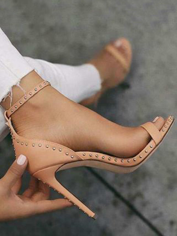 Rivet Ankle Strap Thin Heels Shoes