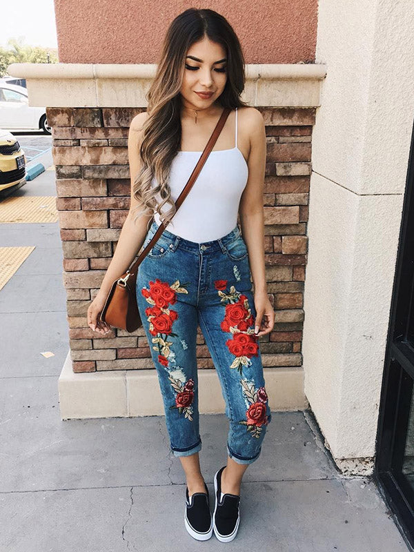 Pretty Embroidered Jean Pants Bottoms