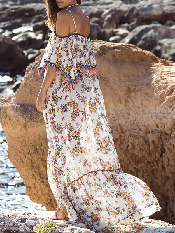 Split-joint Printed Spaghetti-neck Maxi Dress
