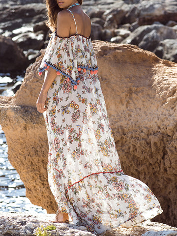 Printed Split-side Belted Condole Belt Maxi Dress
