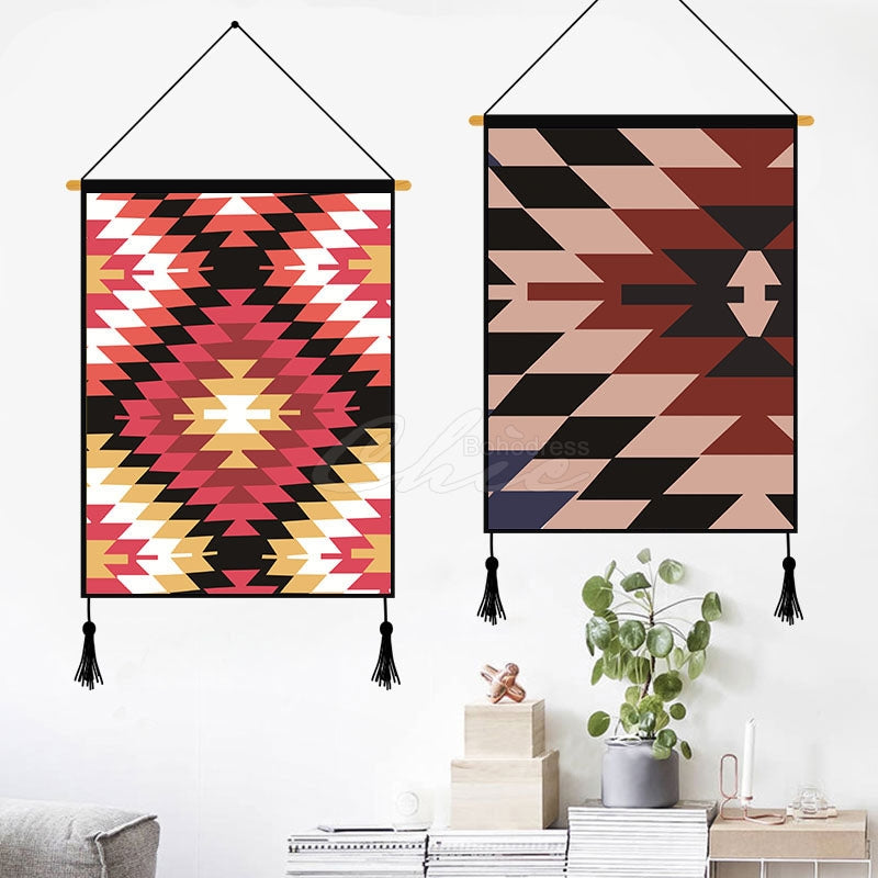 Brown Geometric Pattern Printed Wall Hanging Decoration