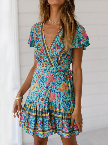 Beautiful Bohemia Floral-Print Cap Sleeve Deep V Neck Elastic Waist Maxi Dress