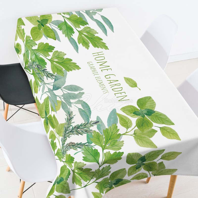 Home Garden Leaves Casual Printed Tablecloth