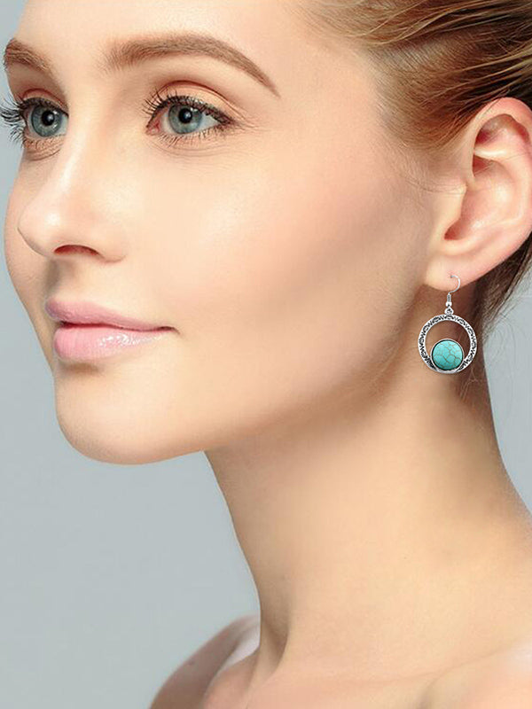 Hollow Turquoise Earrings Accessories