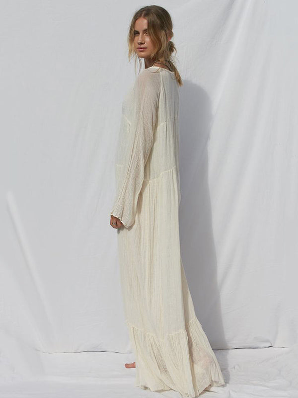Bohemia Solid Long Sleeve Maxi Dress