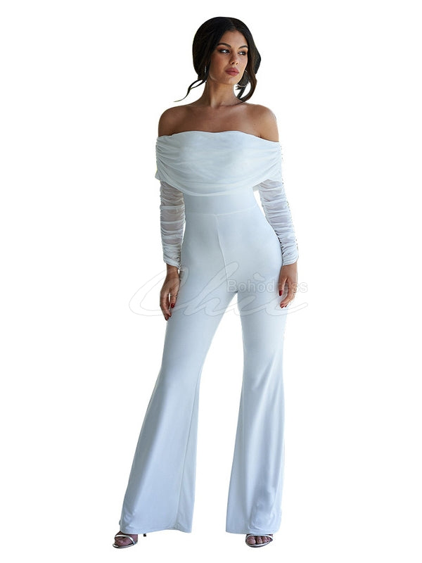 Solid Ruffled Off-The-Shoulder Jumpsuits