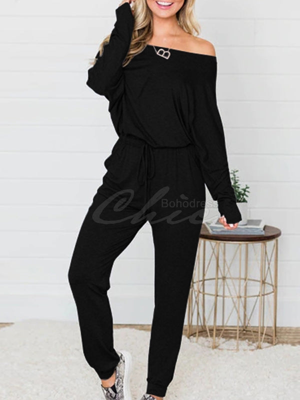 Loose Three-tone Off-the-shoulder Jumpsuit