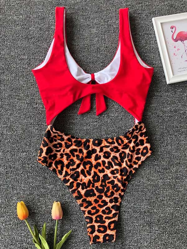 Plain Top With Printed Panty One-piece Swimsuit