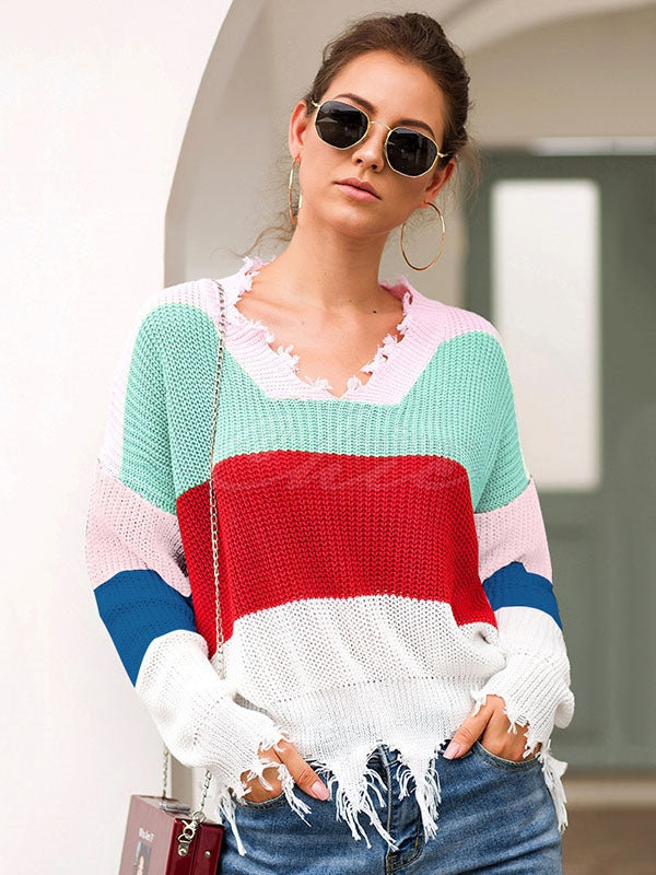 Loose Tasseled Color Split-joint Knitting Sweater