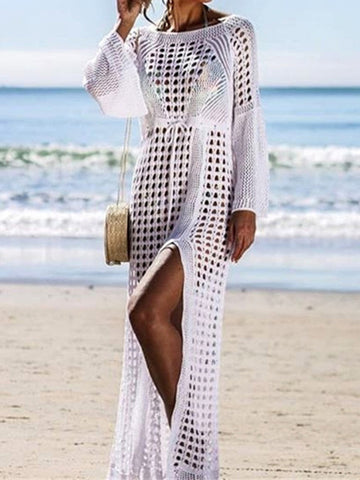 White V-neck Long Sleeves Cover-up Top