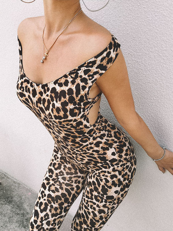 Sports Leopard Print Cross Strappy Jumpsuits