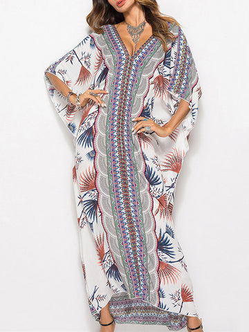 Retro Striped Loose Ramie Cotton Maxi Dress