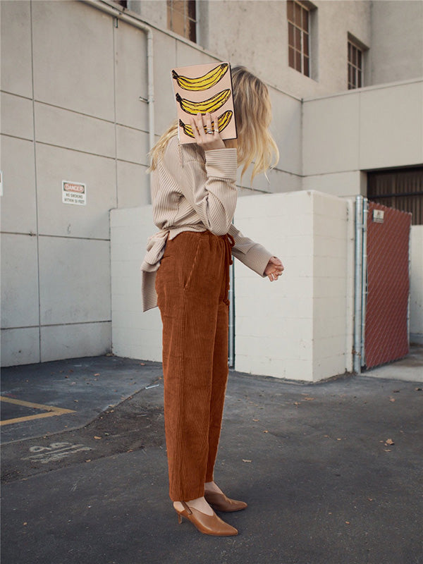 Fashion Corduroy Wide Leg Pants