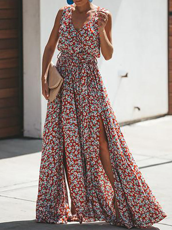 Floral Belted Split-side V-neck Maxi Dress