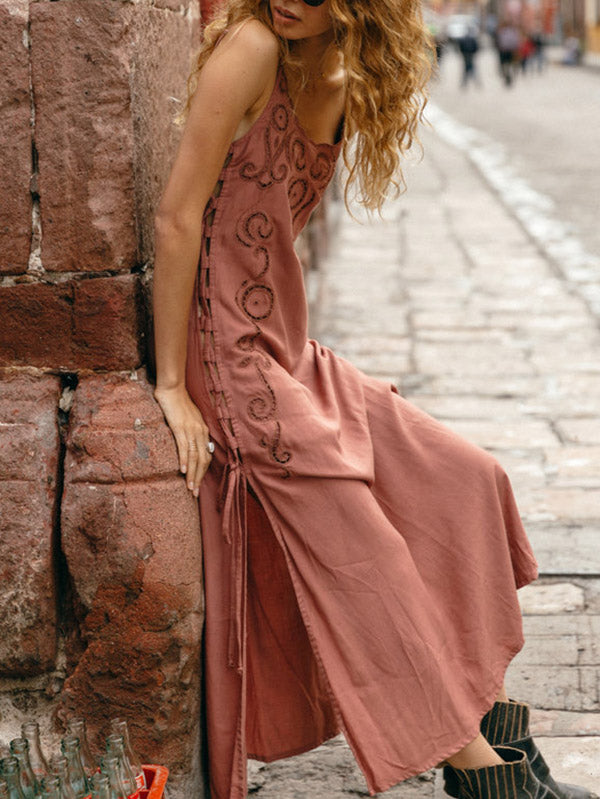 Flower Hollow Split-side Maxi Dress