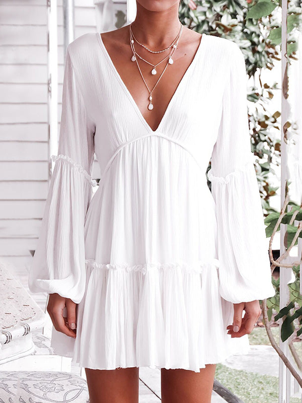 Solid Deep V-neck Light Bohemia Mini Dresses