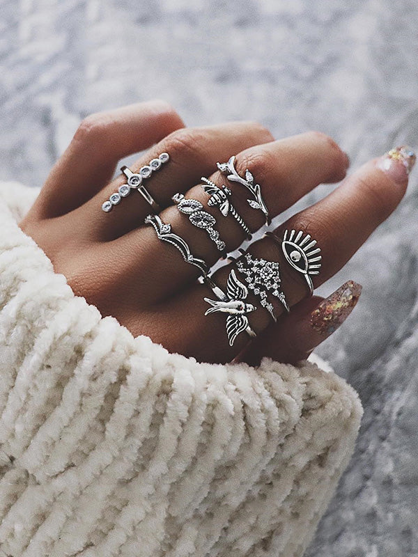 9pcs Bee Branch Pattern Rings Accessories
