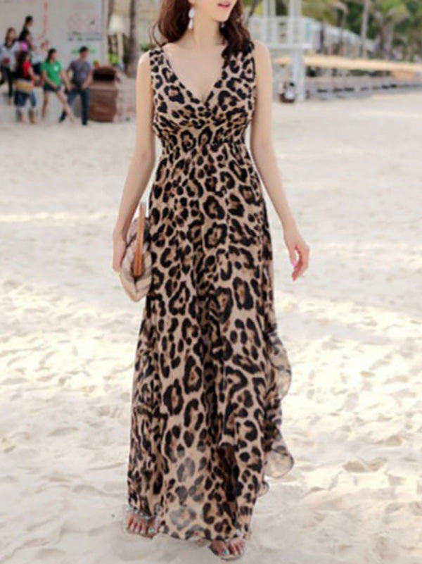 Deep V-neck Leopard Empired Bohemia Maxi Dresses