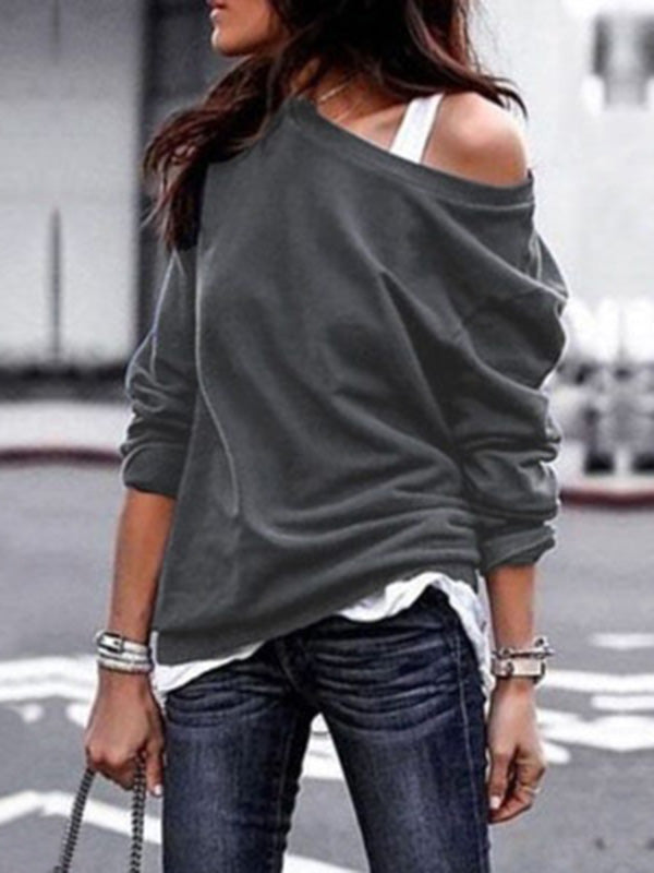 Long Sleeves Solid Color Blouses&shirts Tops