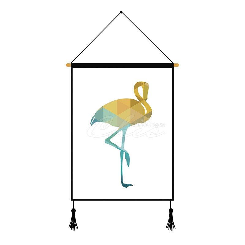 Red-crowned Crane Geometric Printed Wall Hanging Decoration