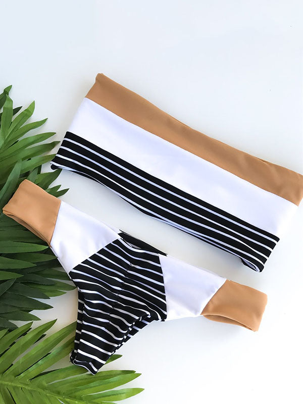 Striped Bandeau Top Bikinis Swimwear