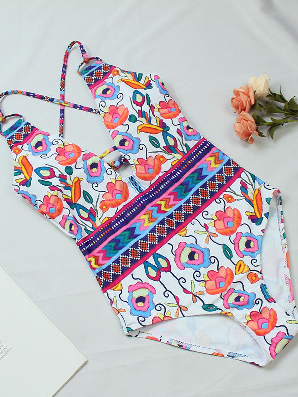 Printed Backless One-piece Swimwear