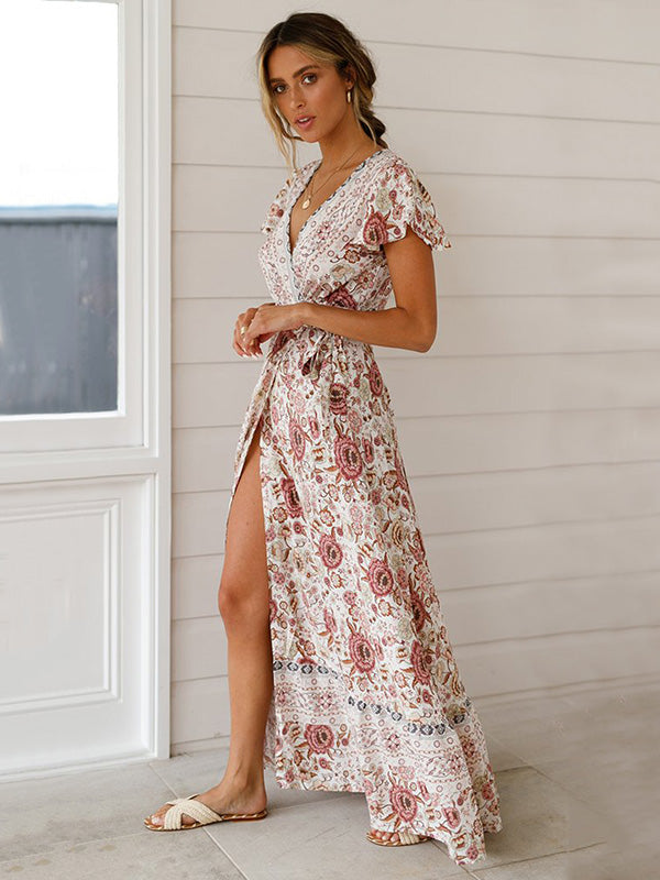 Bohemia V-neck Printed Beach Maxi Dresses