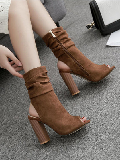 Solid Suede Zipper Super High Heels