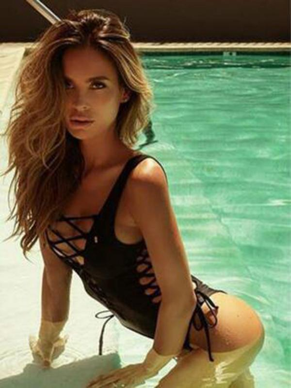 Sexy Lace-up Plain One-piece Swimwear