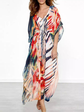 Fashion Bohemia Floral Half Sleeve V Neck Maxi Dress