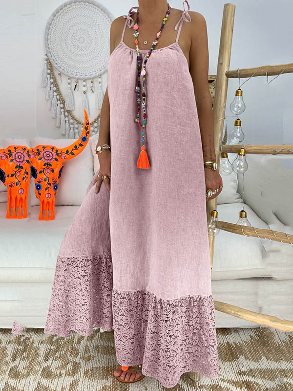 Solid Split-joint Maxi Dress