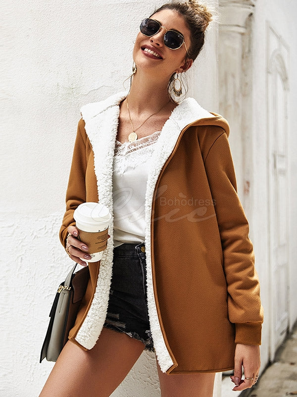 Solid Color Velvet Hooded Cardigan Coat