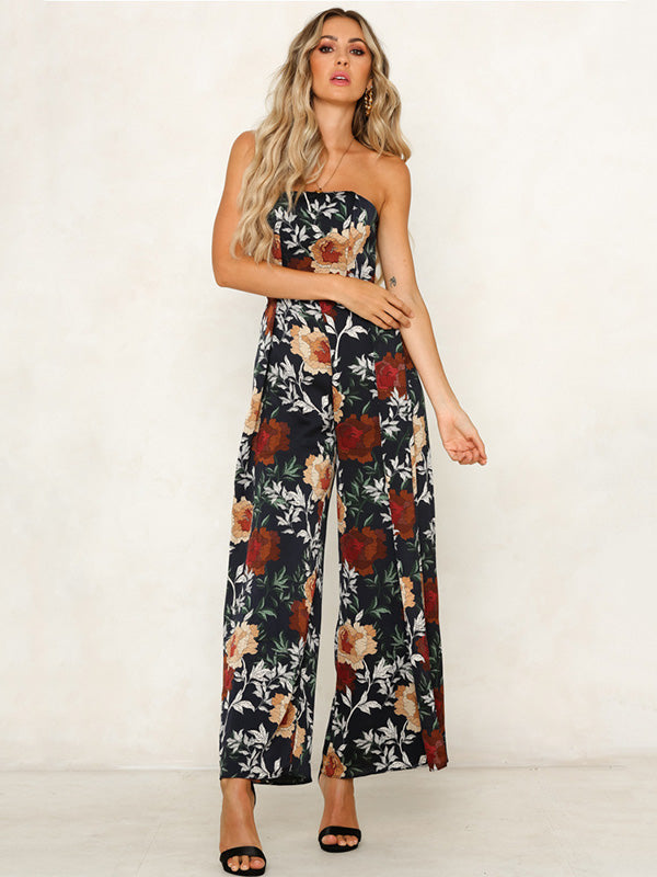Off Shoulder Floral Printed Bohemia Jumpsuits