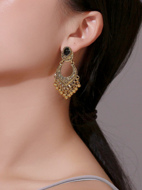 Vintage Carved Tassel Earrings Accessories