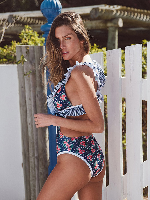 Falbala Lace-Up Sexy One Piece Swimwear