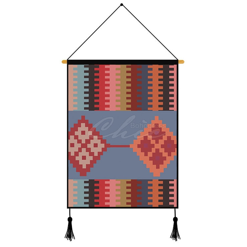 Red Geometric Pattern Printed Wall Hanging Decoration