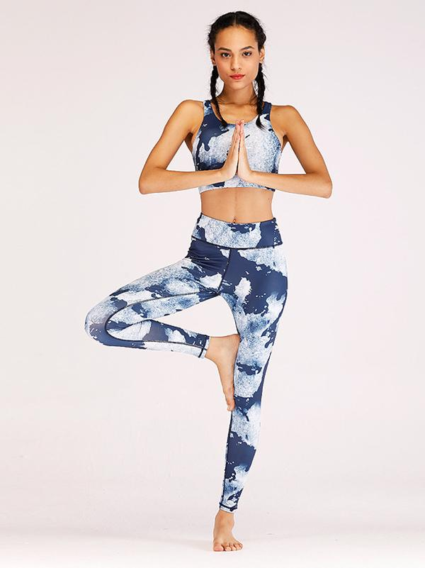 Fashion Ocean Printed Wrap Yoga Suits