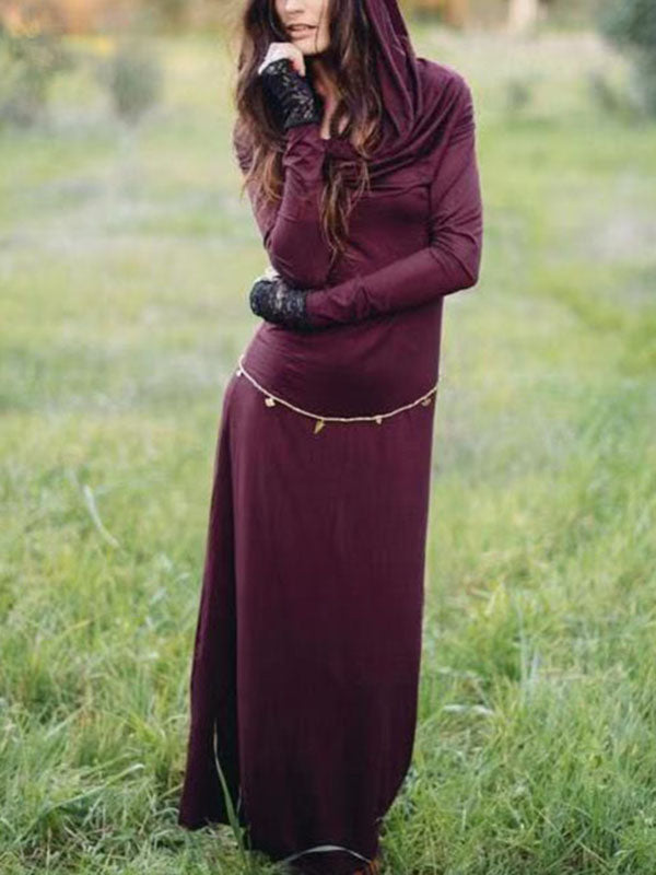 Hooded Long Sleeves Solid Maxi Dress