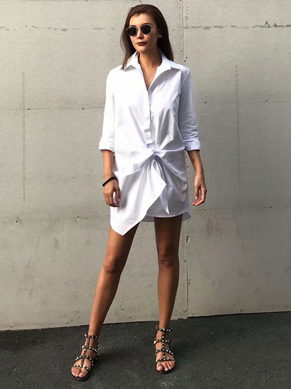 Solid Color Long Sleeveless Shirt Mini Dress