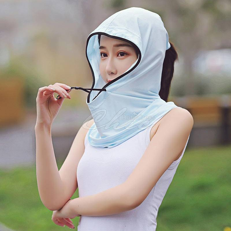 Lace-Up Sunscreen Ice Silk Retractable Scarf Mask