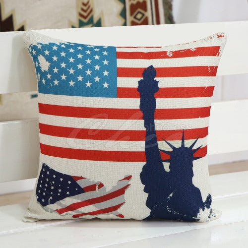 Statue Of Liberty Flag Print Square Pillow Case