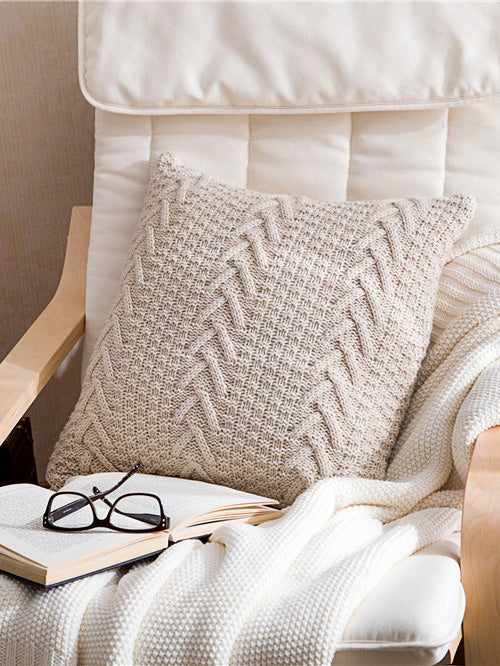 Solid Plaited Textured Pillow Case