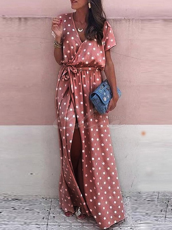Bohemia V Neck Split-front Dot Maxi Dress