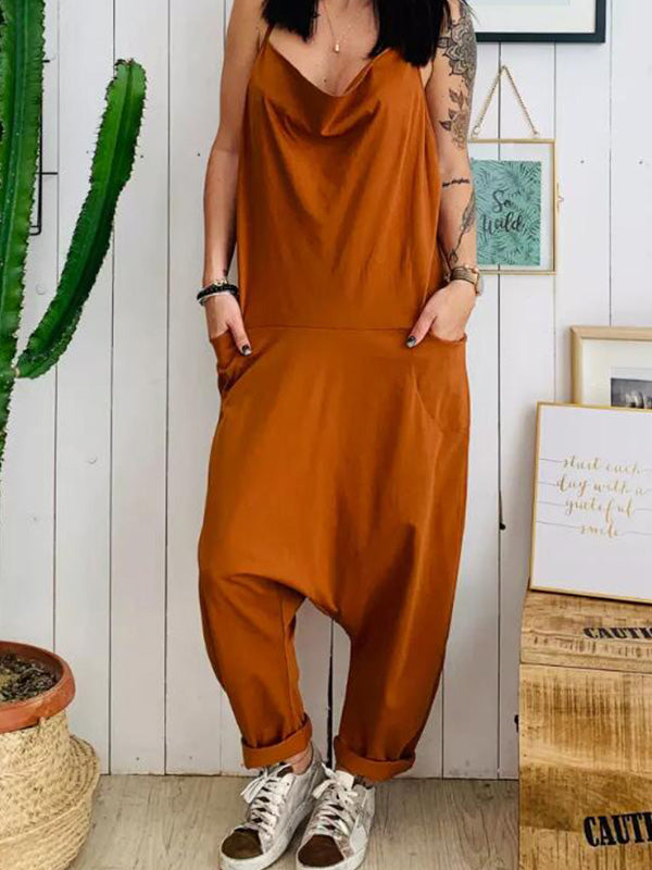 Plus Size Pocket Spaghetti-neck Jumpsuits Bottoms