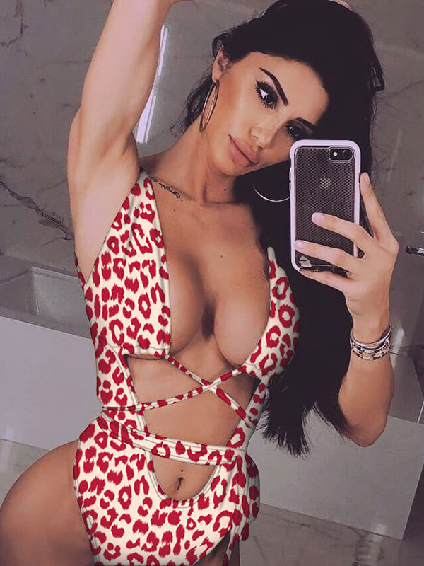 Leopard&Snakeskin Scrunch One Piece Swimsuit