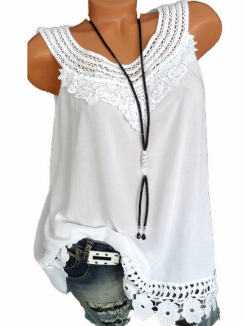 Short Cotton Lace Embroidered T-Shirt