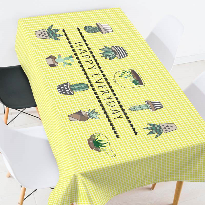 Happy Everyday Green Plants Printed Tablecloth