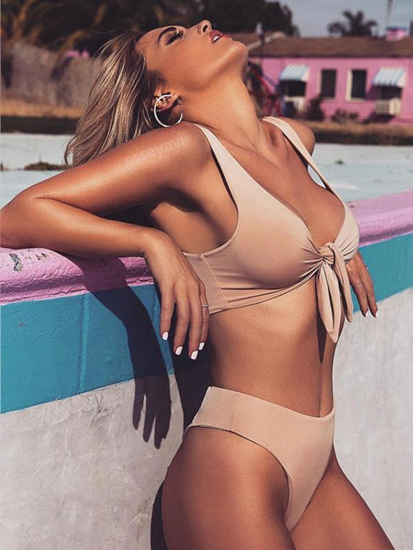 High Waisted Knot Plain Bikinis Swimwear