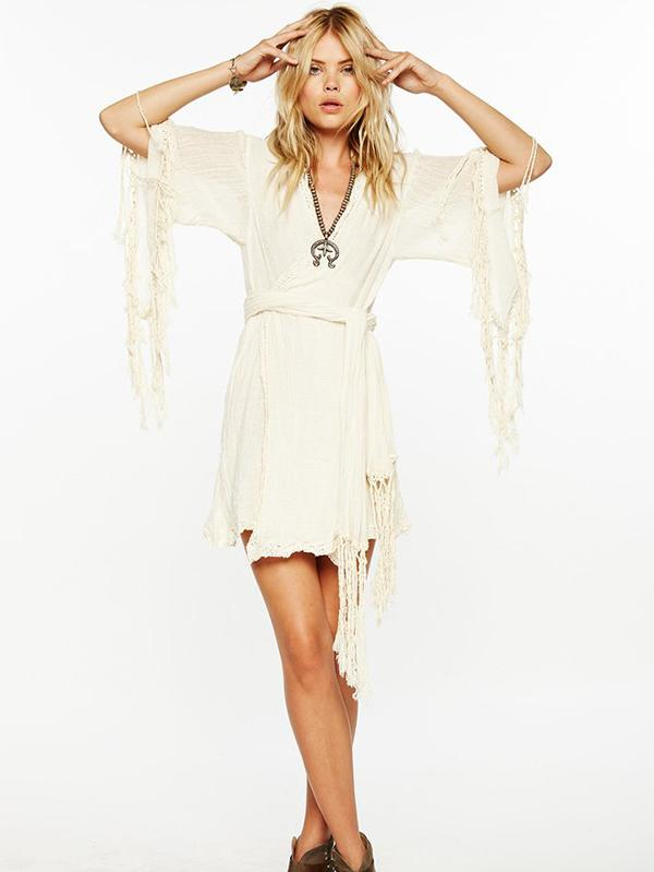 Fashion Lace Tasseled Half Sleeves Cover-Ups Swimwear