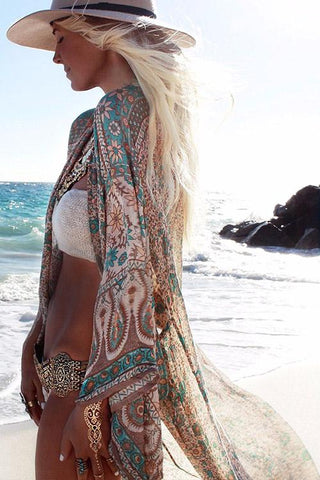 Boho Inspired Kimono As Show / One Size kimonos & beach cover-ups  KOLCHA COMPANY